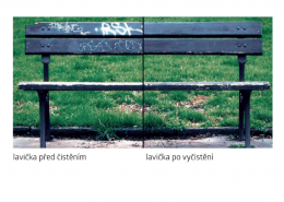 Vlhčené ubrousky Graffiti SafeWipes - lavička před a po vyčištění
