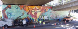"""Obnovení street artu """"Olympijská zeď"""" konzervované ochranným anti graffiti nátěrem Mural Shield"""