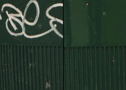Vlhčené ubrousky Graffiti SafeWipes v akci - koš před a po vyčištění